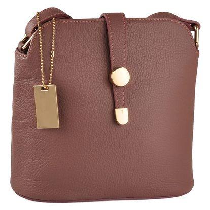 Růžová kožená kabelka Florence Bags Larissa - doprava zdarma!