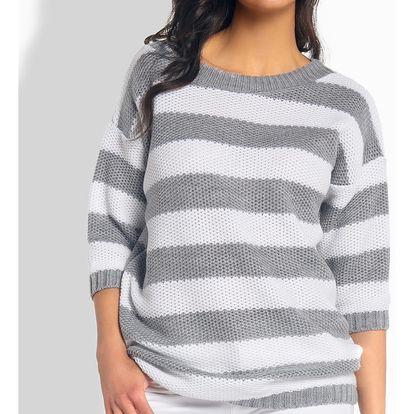 Šedo-bílý pulovr L183