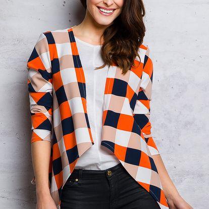 Oranžovo-modrý kabátek M067