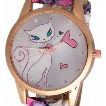 Dámské hodinky se zamilovanou kočičkou