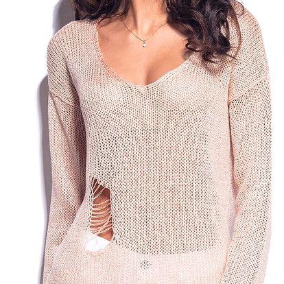 Světle růžový pulovr LS180