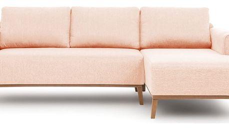 Světle růžová pohovka s lenoškou na pravé straně Vivonia Milton - doprava zdarma!