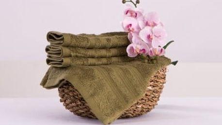 XPOSE ® Bambusový ručník SÁRA - olivová 30x50cm 6ks
