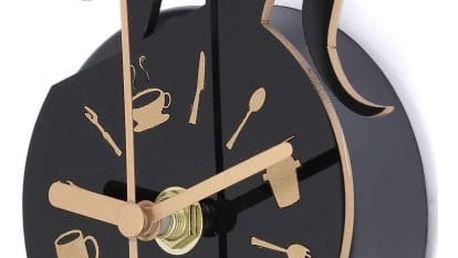 Kuchyňské hodiny s kočičkou v černé barvě