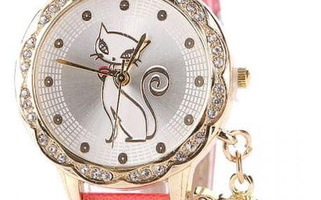 Dámské kočičí hodinky s přívěskem