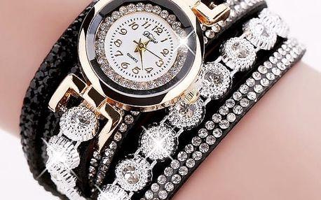 Dámské vícevrstvé hodinky bohatě zdobené kamínky