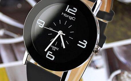Jednoduché unisex hodinky v černém a bílém provedení
