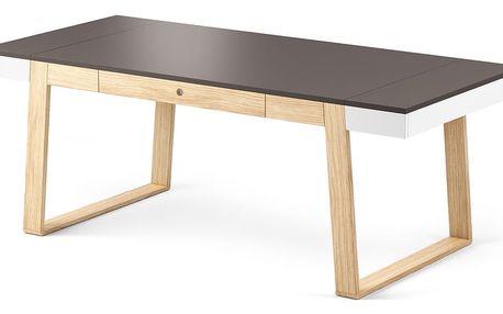 Stůl z dubového dřeva s čerrnou deskou a bílými detaily Absynth Magh, 198x100cm - doprava zdarma!