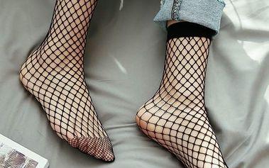 Elegantní síťované ponožky v černé barvě