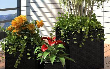 Sada černých ratanových čtvercových květináčů 3 ks V1081 Dekorhome