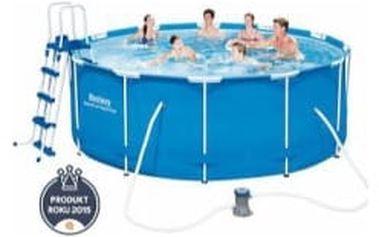 BESTWAY Rodinný bazén s konstrukcí 366 x 122 cm SADA bazén s konstrukcí s kartušovou filtrací + schůdky + plachty