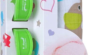 T-TOMI Baby set - bambusová osuška + kočárkový kolíček, zelená/sloni