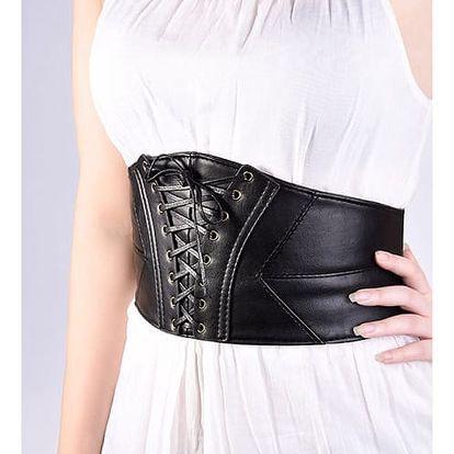 Korzetový široký pás - černá barva