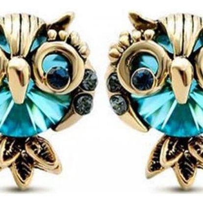 Modré náušnice v podobě soviček