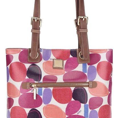 Krémová kabelka s barevným potiskem a koženými detaily Liberty by Gionni Paulina