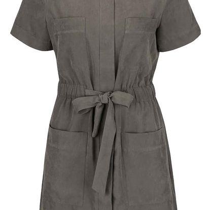 Tmavě šedé šaty se stahováním v pase VERO MODA Nala