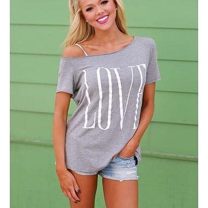 Dámské tričko přes jedno rameno s nápisem LOVE