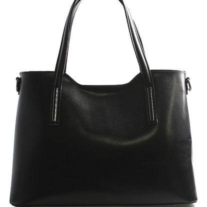 Větší kožená kabelka černá - ItalY Sandy černá