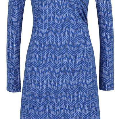 Modré vzorované šaty s překládaným dekoltem Tranquillo Mila