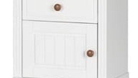Szynaka Noční stolek PRINCESSA 13 barevné provedení doplňků: bílá / koňak