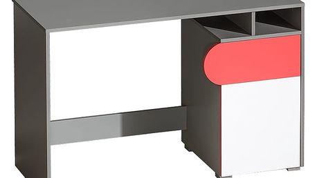 Dolmar Psací stůl FUTURO F8 Barevné provedení: Grafit / malina / bílá