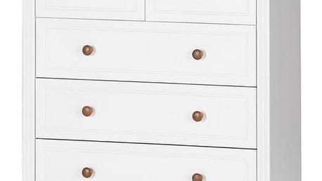 Szynaka Komoda PRINCESSA 07 barevné provedení doplňků: bílá / koňak