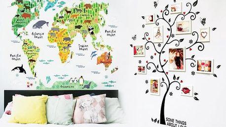 Dekorační samolepka na zeď v podobě stromu nebo dětské mapy světa