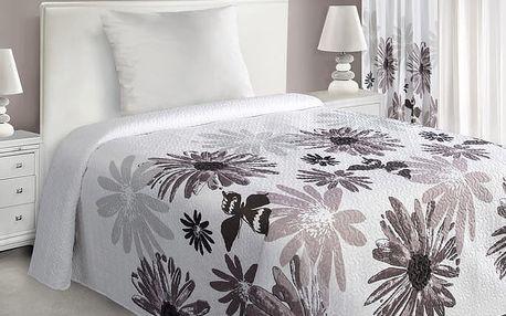 Přehoz na postel GARITA 220x240 cm bílá/hnědá Mybesthome
