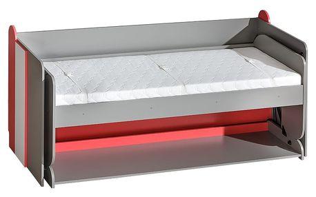 Dolmar Postel kombinovaná s psacím stolem FUTURO F14 Barevné provedení: Grafit / malina / bílá