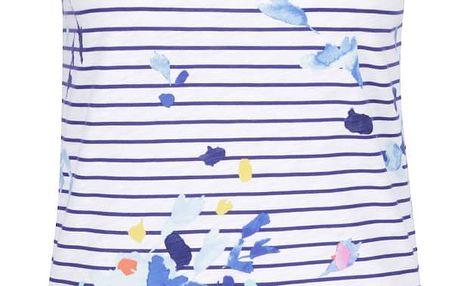 Modro-bílé pruhované tílko s motivem květin Tom Joule Boprint