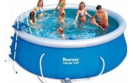 BESTWAY Rodinný bazén Fast Set 457 x 122 cm SADA bazén s kartušovou filtrací + schůdky + plachty