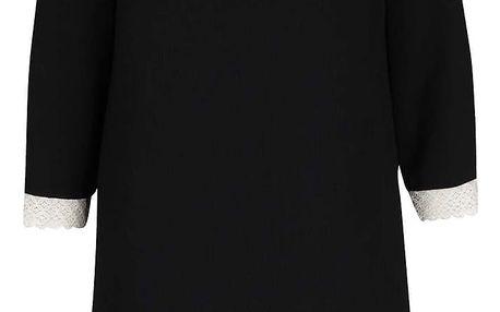 Černé šaty s krajkovými lemy a 3/4 rukávy Pietro Filipi