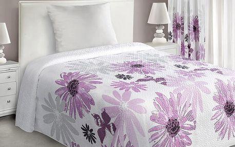 Přehoz na postel GARITA 220x240 cm bílá/růžová Mybesthome