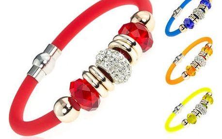Silikonový náramek s krystalky v mnoha krásných barvách!