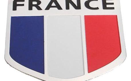 3D auto samolepka - francouzská vlajka - 5 x 5 cm