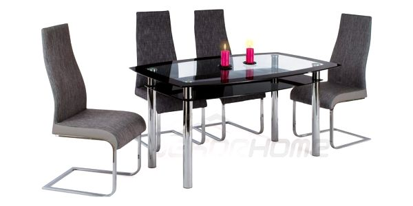 AT-1012 BK AC-1817 GREY2 Jídelní set + 4 židle