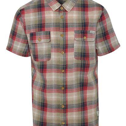 Zeleno-červená kostkovaná košile s krátkým rukávem Blend