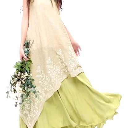 Dlouhé šaty s květinovou výšivkou - dvouvrstvé