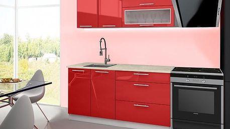 Emilia - Kuchyňský blok A, 160 cm (červená, PD travertin světlý)