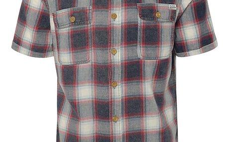 Červeno-modrá kostkovaná košile s krátkým rukávem Blend
