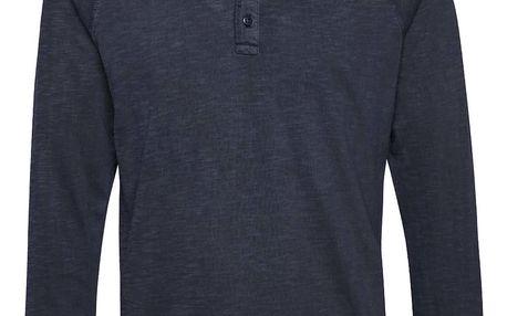Tmavě modré žíhané triko s dlouhým rukávem Blend