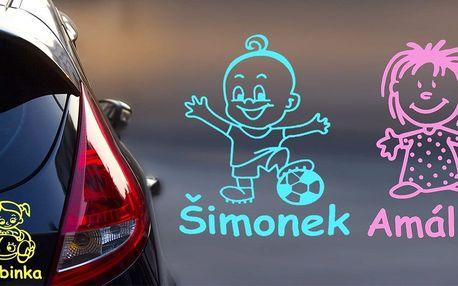 Zakázkové samolepky Dítě v autě s vlastním textem