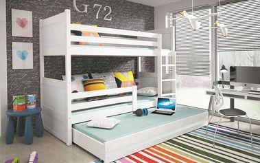 Patrová postel s přistýlkou RICO 3 80x160 cm, bílá/bílá Pěnová matrace