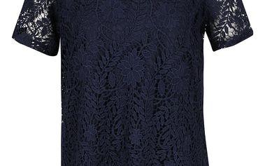 Tmavě modré krajkové tričko Vero Moda Flora