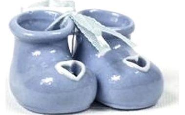 Keramické malé botičky jako originální dárek k narození děťátka. Baleno dárkově v celofánu.