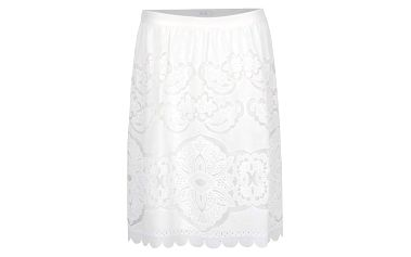 Krémová sukně s perforovanými detaily VILA Bellina