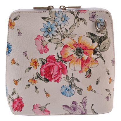 Květinová kožená kabelka Florence Bags Vaire, bílý zip
