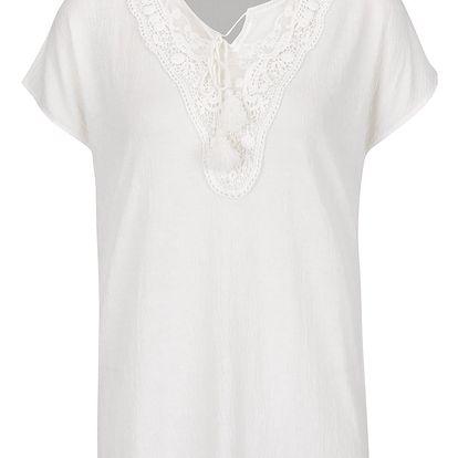 Krémové tričko s krajkou v dekoltu Vero Moda Matea
