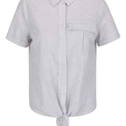 Šedo-krémová pruhovaná košile s příměsí lnu VILA Rosettan