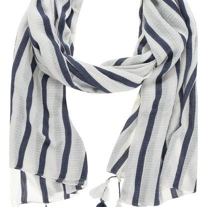 Modro-krémový pruhovaný šátek VERO MODA Stina